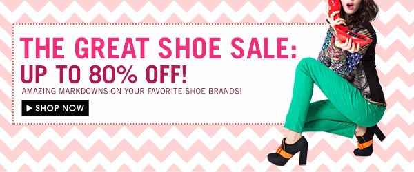 THE GREAT SHOE SALE: UP TO 80% OFF