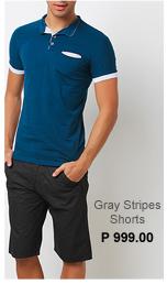 Gray Stripes Short